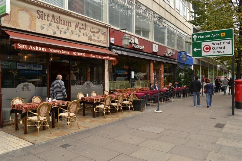 Bliskowschodnia restauraci Edgware droga Londyn obraz royalty free