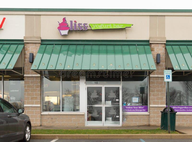 Bliss Yogurt Bar-voorzijde royalty-vrije stock foto's