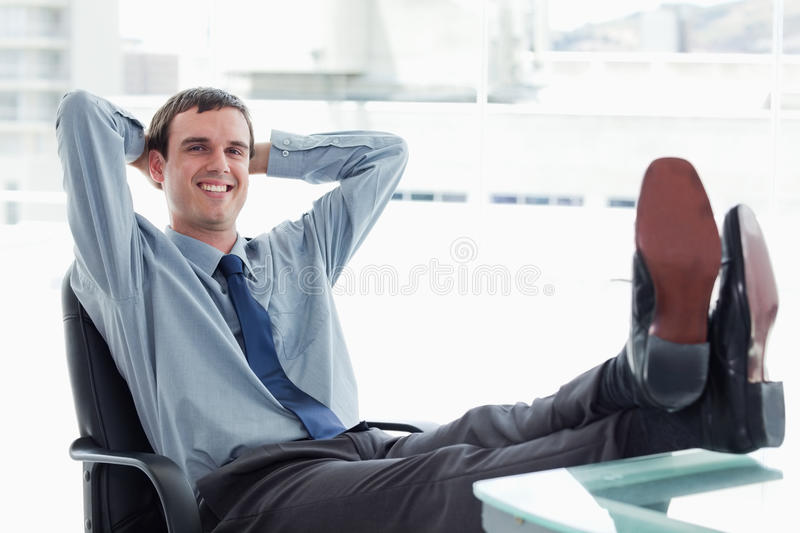 Blissful Manager Relaxing Stock Photo