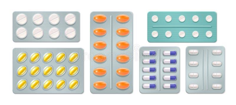 Blisterpackungen mit Pillen und Kapseln vektor abbildung