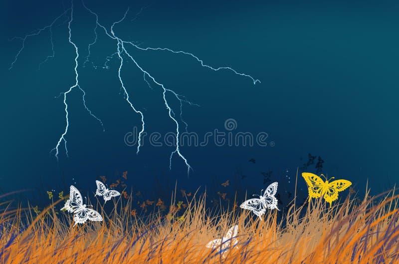 Blitz im blauen Himmel und in den schönen Schmetterlingen vektor abbildung