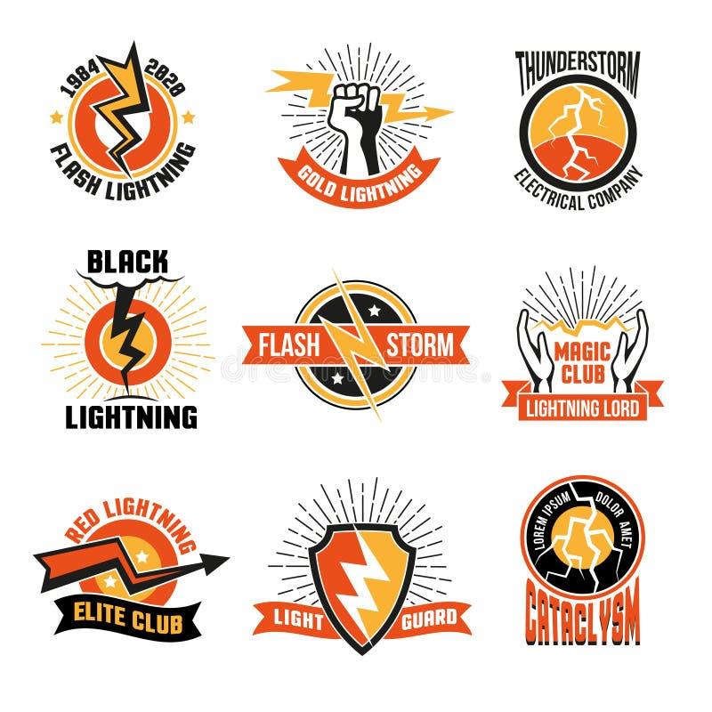 Blitz Logo Emblem Set stock abbildung