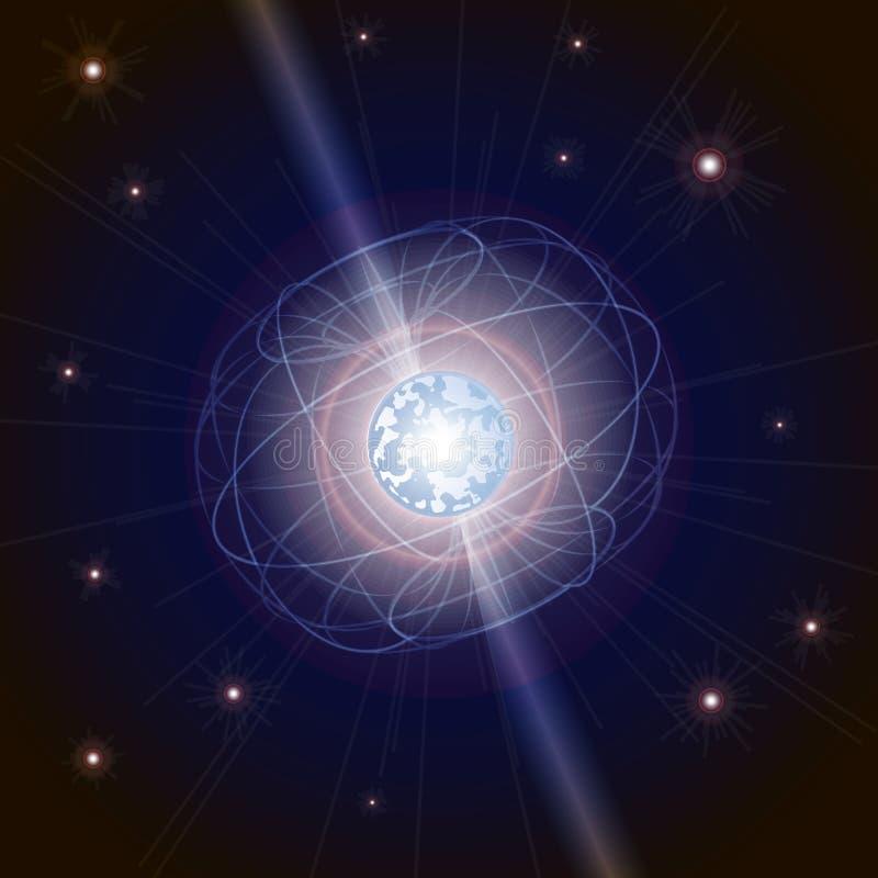 Blitzar 脉冲星 中子星做辐射光芒波浪 与磁场的迈格尼塔 也corel凹道例证向量 皇族释放例证