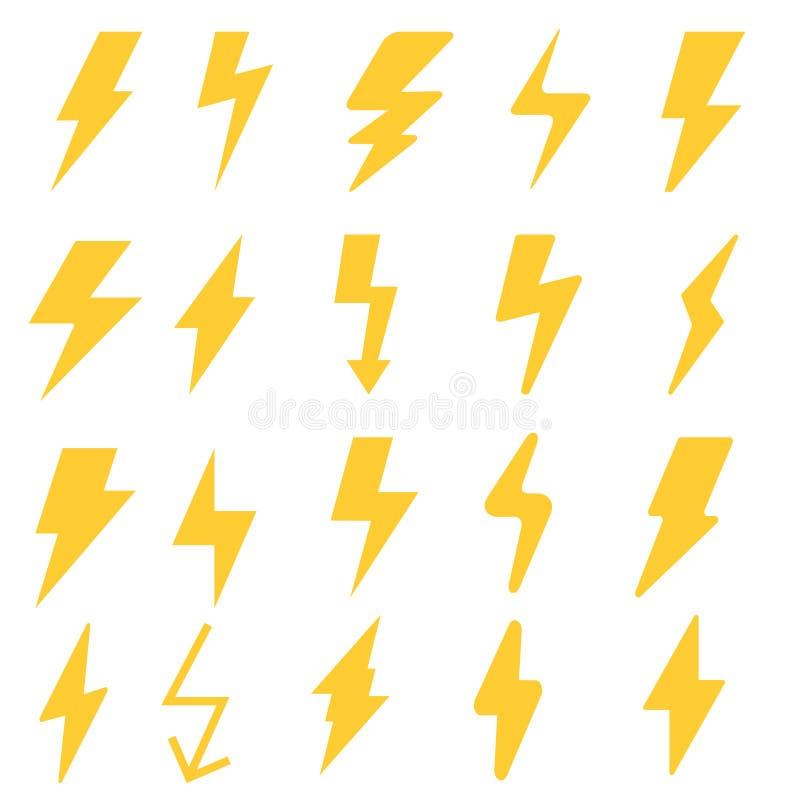 Blitzbolzen-Vektorikonensatz Blitzschlag-Illustrationsikonen vektor abbildung