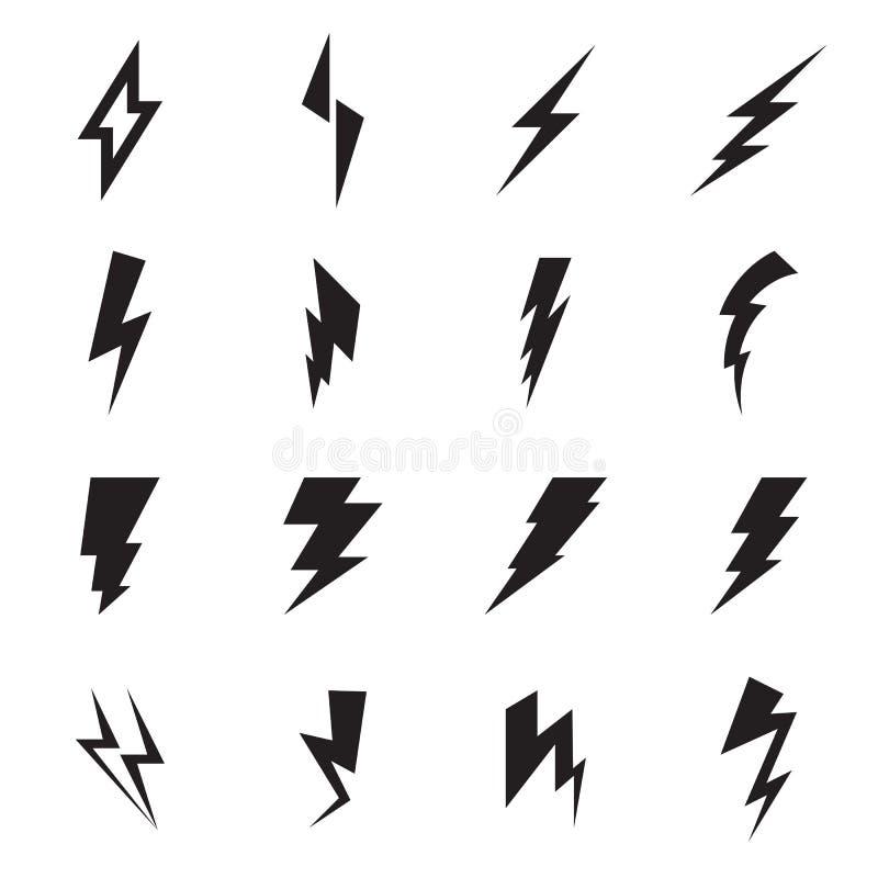 Blitzbolzenikonen auf einem weißen Hintergrund vektor abbildung