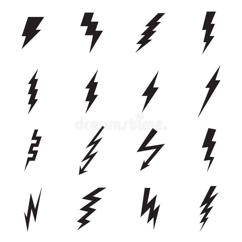 Blitzbolzenikonen lokalisiert auf einem weißen Hintergrund lizenzfreie abbildung