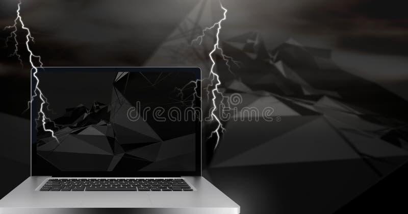 Blitzschläge und Laptop lizenzfreie abbildung