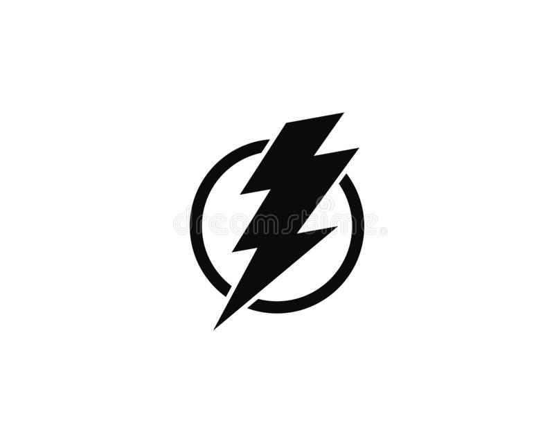 Blixt beståndsdel för design för elkraftvektorlogo Energi- och åskaelektricitetssymbol royaltyfri illustrationer