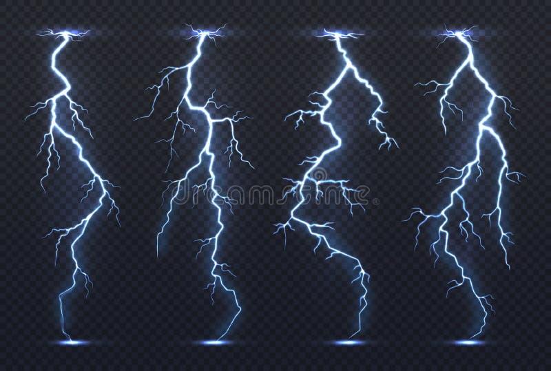 blixt Klimat för häftigt regn för åskväder för himmel för blått för åskastormelektricitet pråligt stormigt realistiskt Blixtvekto vektor illustrationer