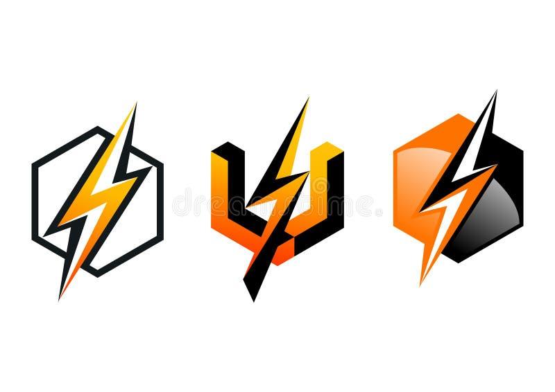 Blixt logo, symbol, åskvigg, kub, elektricitet, elkraft, makt, symbol, design, begrepp vektor illustrationer
