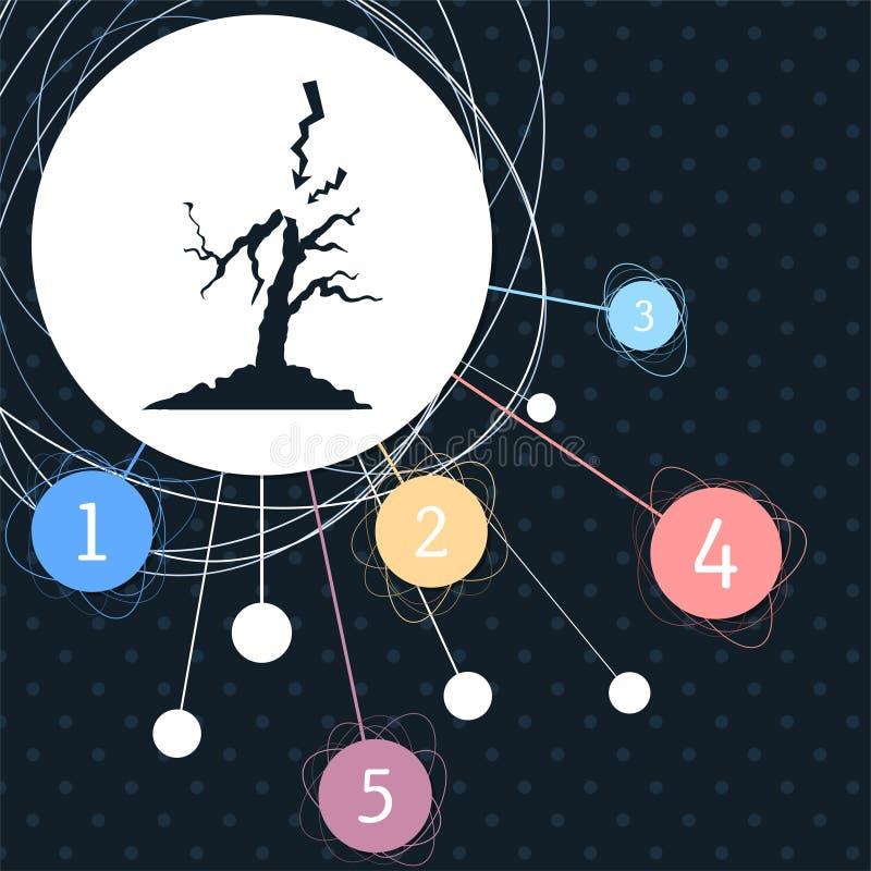 Blixt- och trädsymbol med bakgrunden till den infographic stilen för punkt stock illustrationer