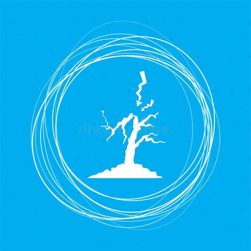Blixt- och trädsymbol på en blå bakgrund med abstrakt begreppcirklar runt om stället för din text royaltyfri illustrationer