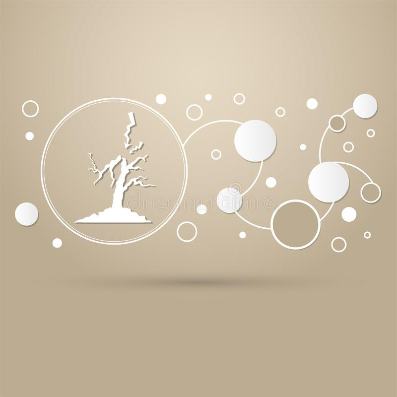 Blixt- och trädsymbol på en brun bakgrund med den infographic moderna designen för elegant stil stock illustrationer