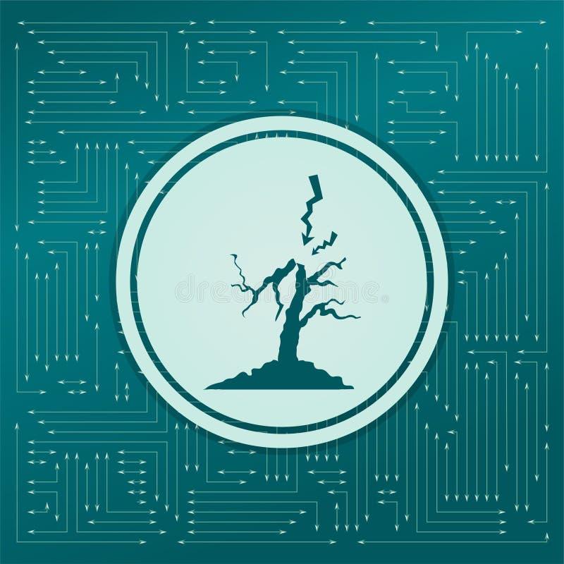 Blixt- och trädsymbol på en grön bakgrund, med pilar i olika riktningar Det visas det elektroniska brädet stock illustrationer