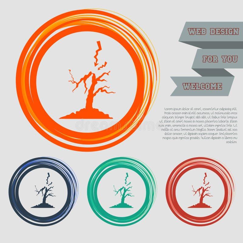 Blixt- och trädsymbolen på det rött, slösar, gör grön, orange knappar för din websitedesign med utrymmetext stock illustrationer