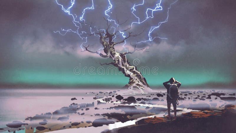 Blixt ovanför det jätte- trädet stock illustrationer