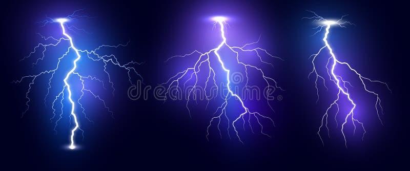 blixt Uppsättning för blixtar för åskastorm realistisk Magiska och ljusa ljusa effekter Vektorillustration som isoleras p? m?rk b royaltyfri illustrationer