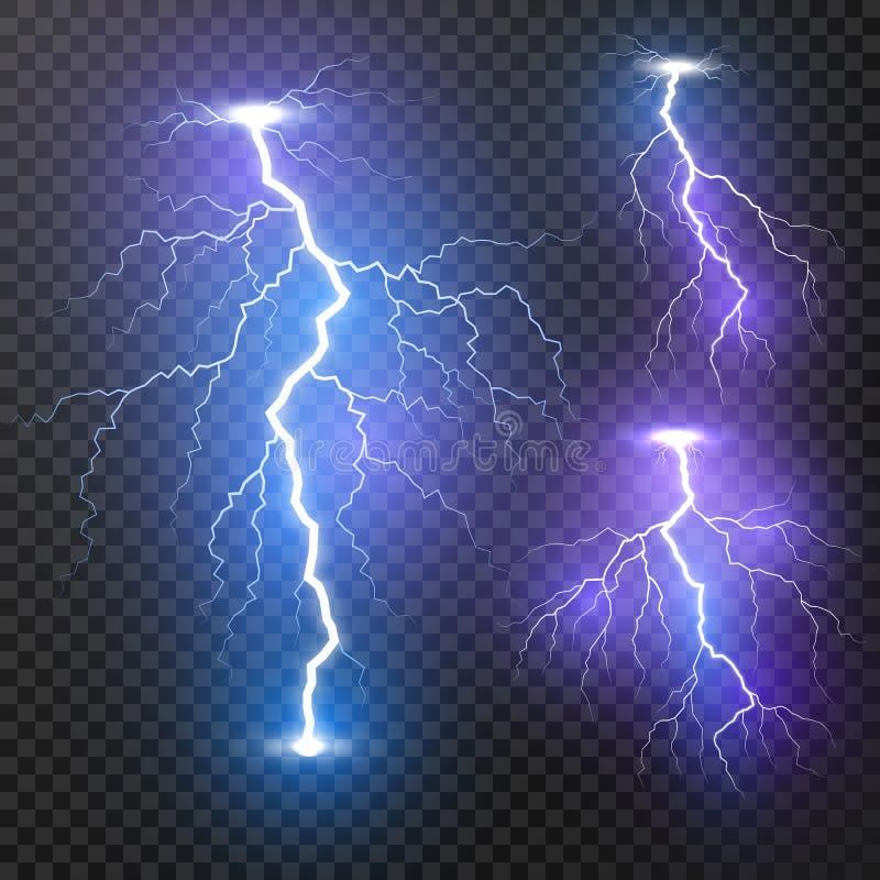 blixt Upps?ttning f?r blixtar f?r ?skastorm realistisk Magiska och ljusa ljusa effekter Vektorillustration som isoleras p? genoms vektor illustrationer