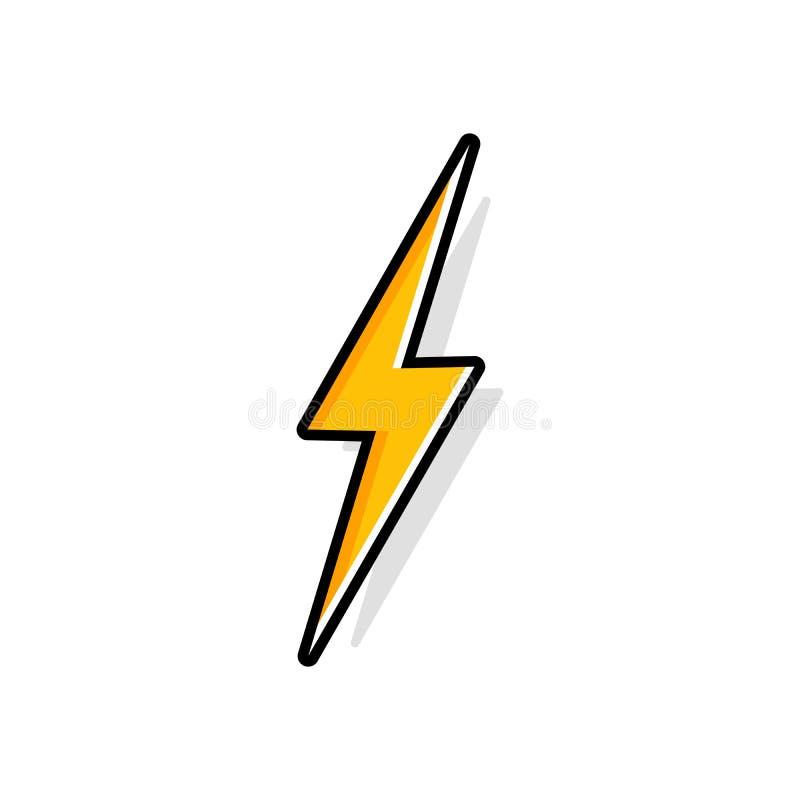 Blixtbult, åskabult, symbol för vektor för belysningslagsakkunskap plan stock illustrationer