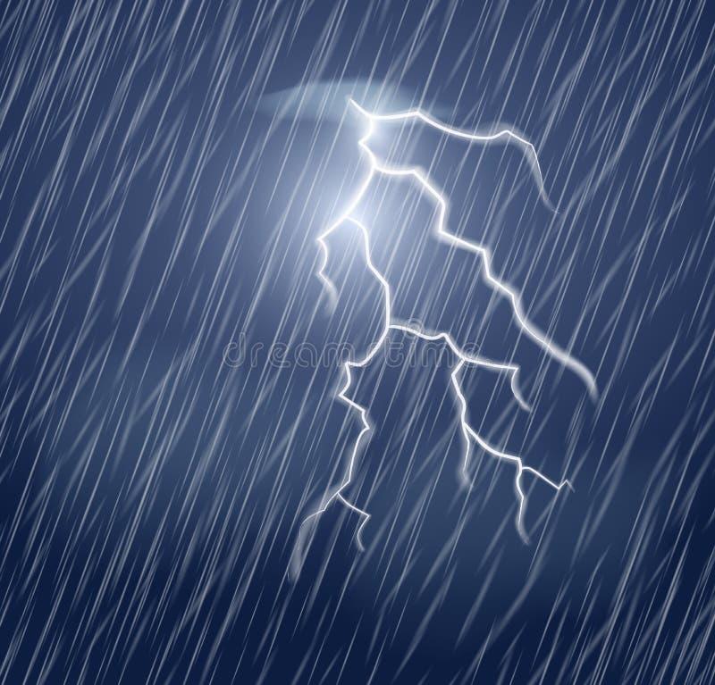 Blixtexponering och hällregn i den mörka himlen stock illustrationer