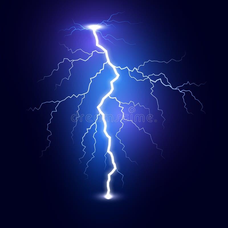 Blixtexponeringsbult Åskvigg som isoleras på mörk bakgrund Blå blixtmall ocks? vektor f?r coreldrawillustration stock illustrationer