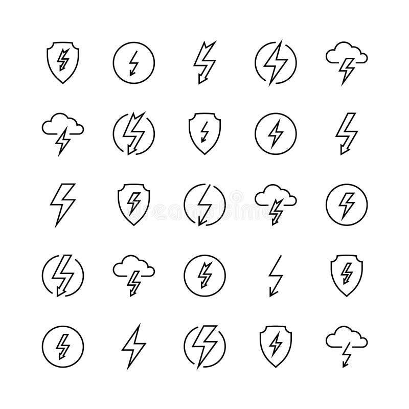 Blixtlinjen symboler laddar samkvämmen för kontakten för slaget för batteriet för belysning för åska för bulten för blixt för åsk royaltyfri illustrationer