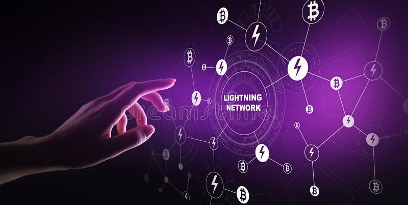 Blixtnätverkskommunikation i cryptocurrencyteknologi Bitcoin och internetbetalningbegrepp på den faktiska skärmen arkivfoton