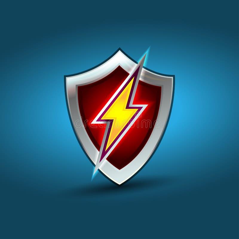 Blixtsköld, beståndsdel för design för elkraftvektorlogo Energi och begrepp för åskaelektricitetssymbol stock illustrationer