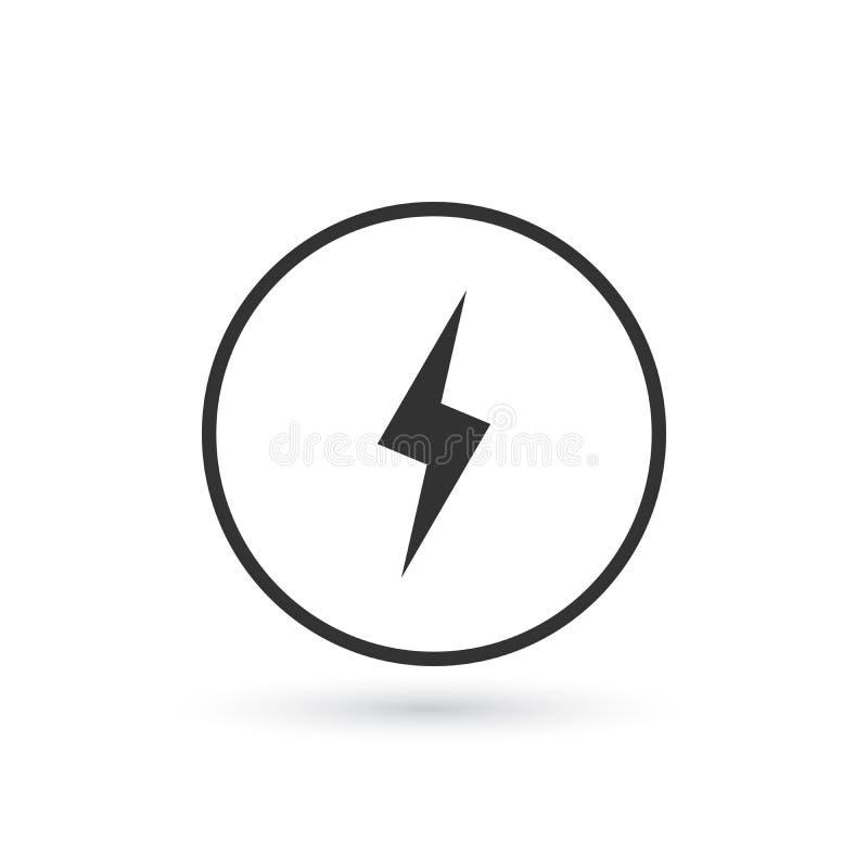 Blixtsymbol Energivektorsymbol, blixttecken plant symbol för laddning på grå bakgrund vektor illustrationer