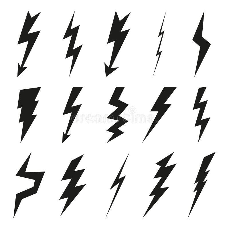 Blixtsymbolsuppsättning Elektricitetsåska och farasymbol Blixtslag, exponering och svarta symboler för pil som isoleras på den vi vektor illustrationer