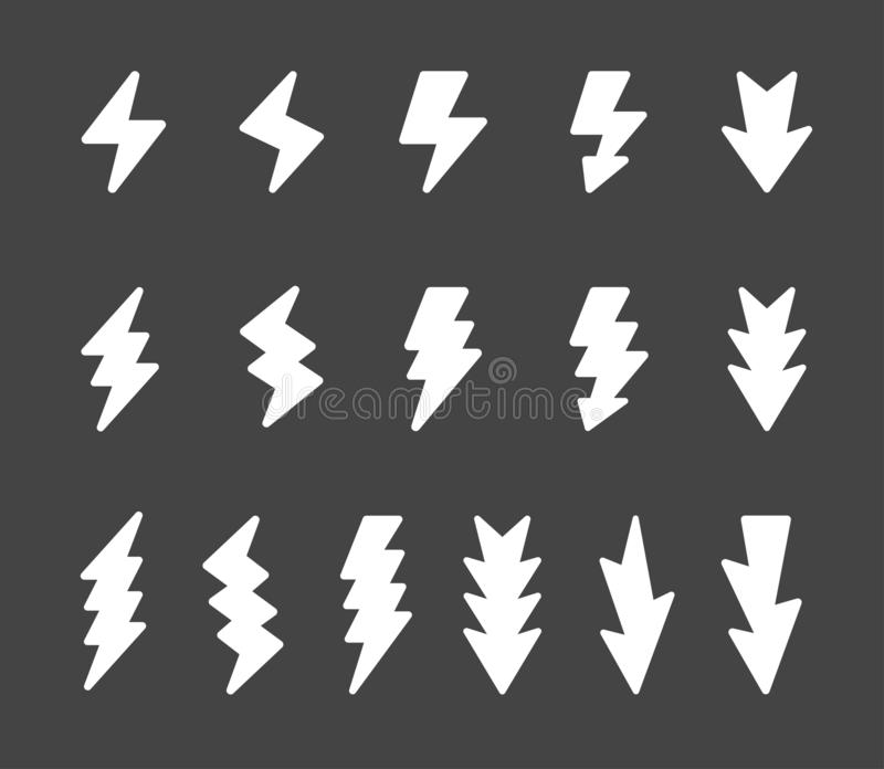 Blixtsymbolsupps?ttning royaltyfri illustrationer