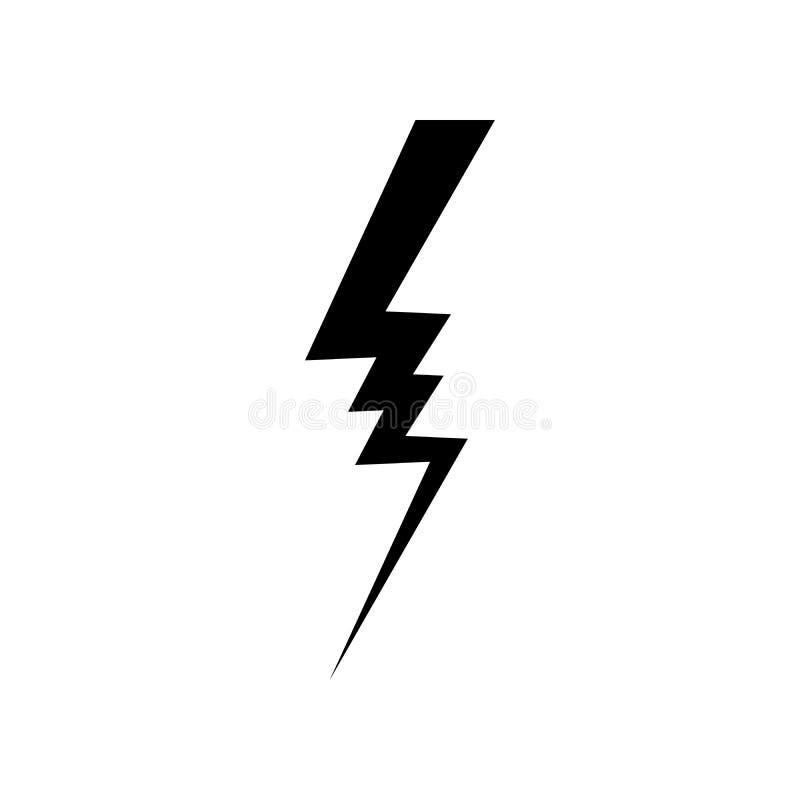 Blixtsymbolsvektor Enkelt plant symbol Göra perfekt den svarta pictogramillustrationen på vit bakgrund stock illustrationer