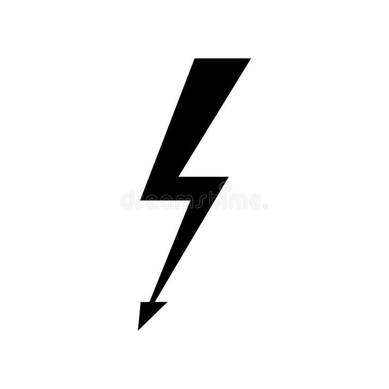 Blixtsymbolsvektor Enkelt plant symbol Göra perfekt den svarta pictogramillustrationen på vit bakgrund vektor illustrationer
