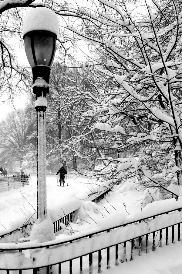 Blizzard 2006. In NYC, B&W stock images