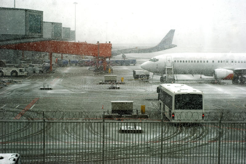 Blizzard on airport stock photography