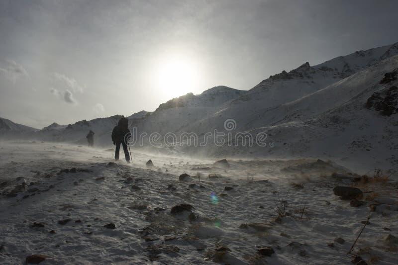 Blizzard bij de bergen royalty-vrije stock foto's