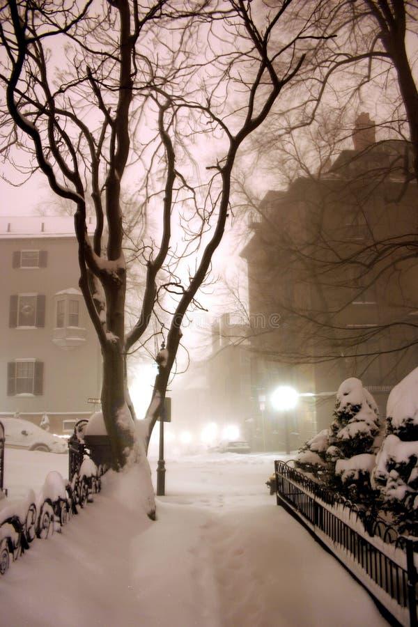 Blizzard In Boston Stockfotos