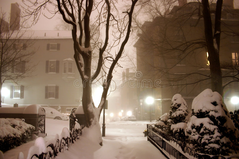 Blizzard in Boston stockbilder