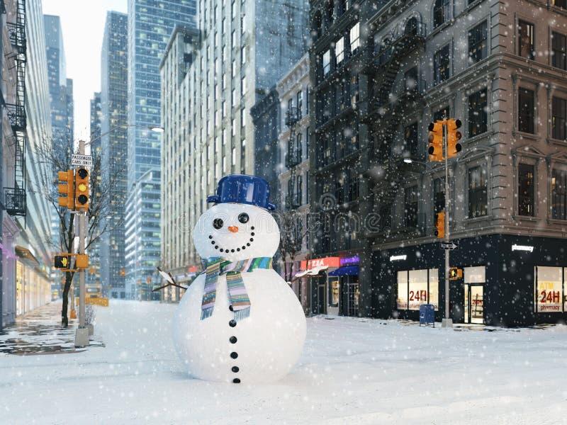 Blizzard in de stad van New York bouw sneeuwman het 3d teruggeven stock illustratie