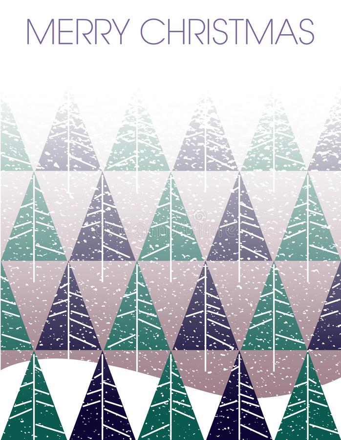 Blizzard der frohen Weihnachten mit Tannenbäumen lizenzfreie abbildung