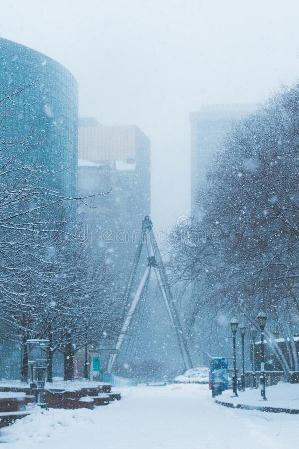 Blizzard Nor`easter march 13 2018 in Hartford Connecticut New England royalty free stock photo