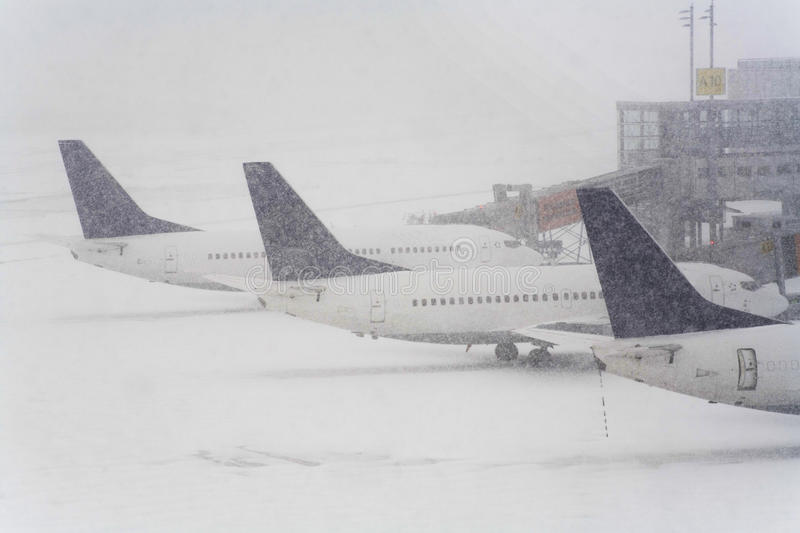 Blizzard on an international airport stock images