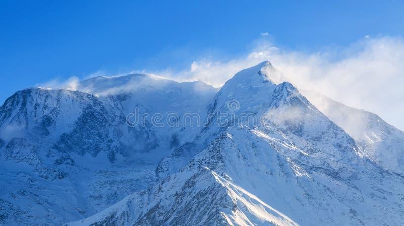 Blizzard on Mont Blanc. Blizzard on the highest European mountain peak, Mont Blanc stock images