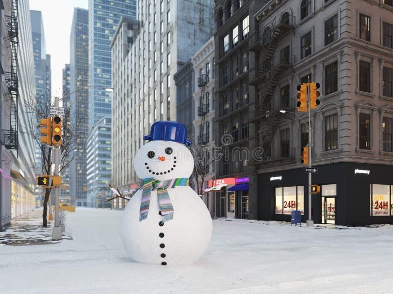 Blizzard in new york city. build snowman. 3d rendering vector illustration