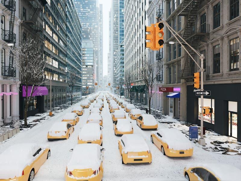 Blizzard in new york city. 3d rendering stock illustration