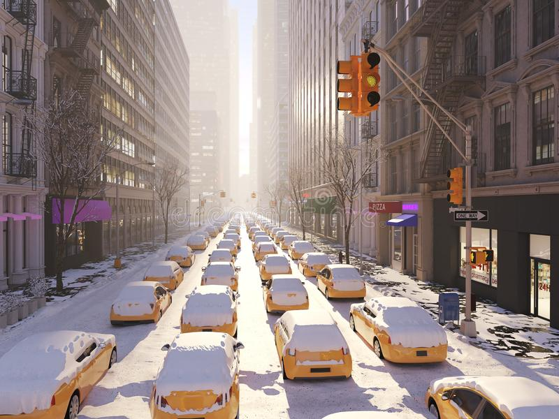 Blizzard in new york city. 3d rendering royalty free illustration