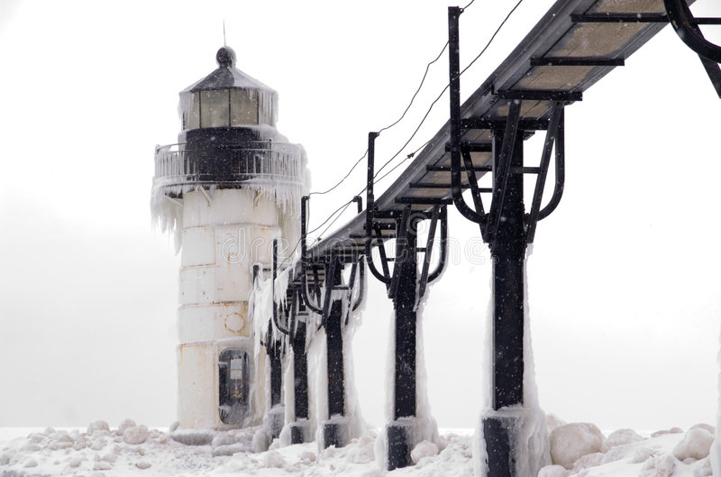 Blizzard Over St. Joseph Lighthouse Stock Photo