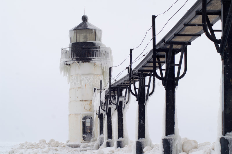 Blizzard over St. Joseph Lighthouse royalty-vrije stock afbeelding