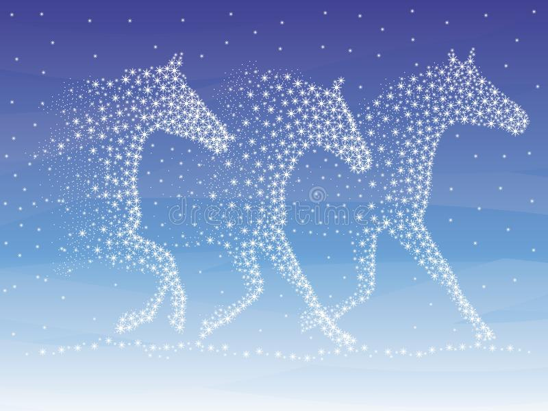 Blizzard. Snowstorm in the form of galloping horses. Vector format
