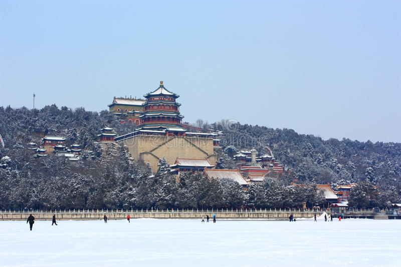 The blizzard of Summer Palace royalty free stock photos